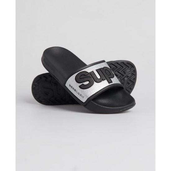 SUPERDRY EVA 2.0 POOL SLIDES (black/silver) W ΠΑΠΟΥΤΣΙΑ